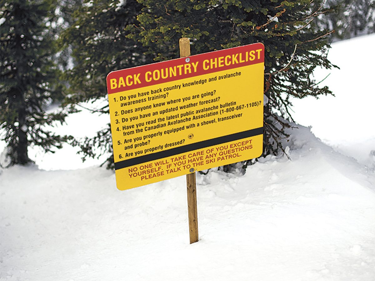Warning sign on Red Mountain in B.C.