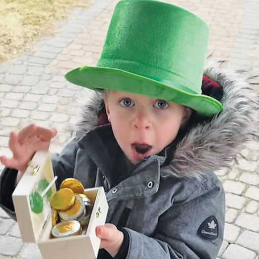 Child finding chocolate loonies