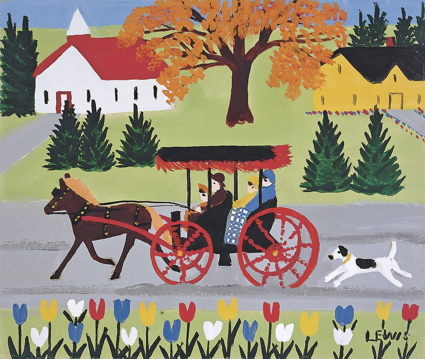 """Carriage and Dog"" by Maud Lewis"