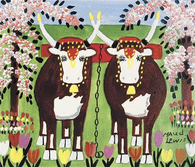 """Oxen in Spring"" by Maud Lewis"