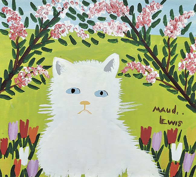 "Maud Lewis painting ""White Cat"""