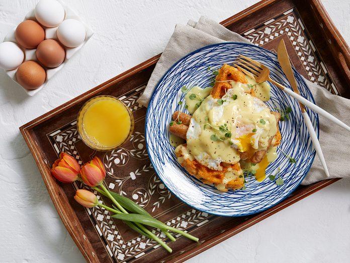 Spring Sausage Eggs Benedict recipe