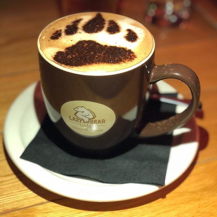 A polar bear latte at Lazy Bear Lodge