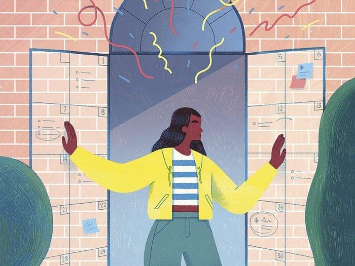 A woman opens a window