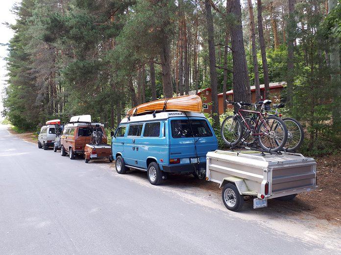 Road Trip Trailers - VW Westfalia Camper Vans In A Row