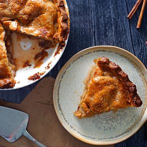 Apple Pie In A Bag - Pie with slice cut out on plate