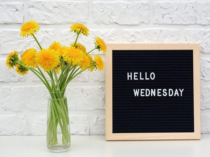 hello Wednesday sign