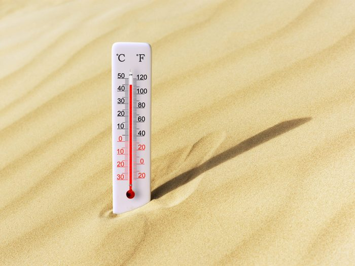 Highest temperature in Canada - thermometer in baking sand