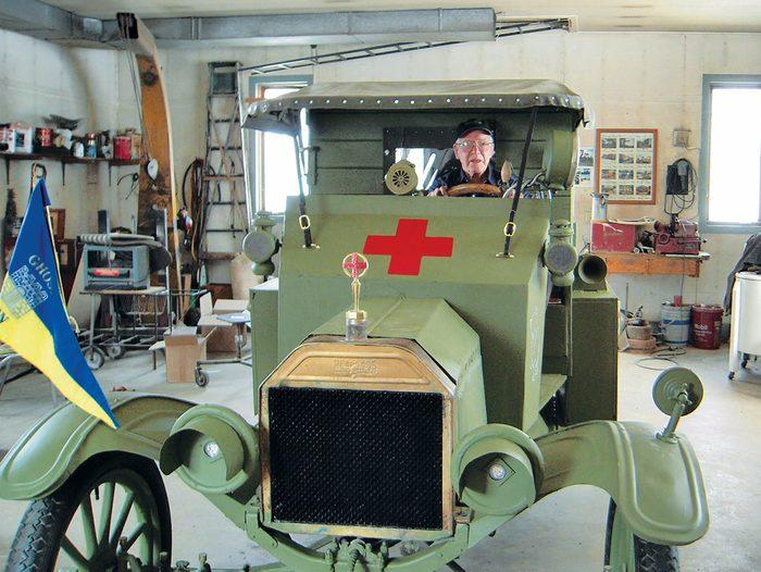 Model T Ambulance - Ken seated in the Model T.