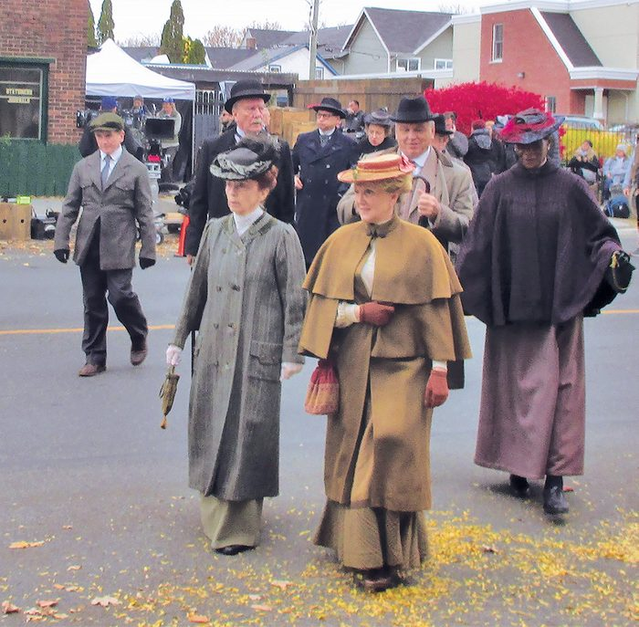 Murdoch Mysteries Filming Locations - background actors in downtown Cobourg, Ontario