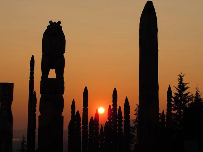 Sunset at Burnaby Totem Park