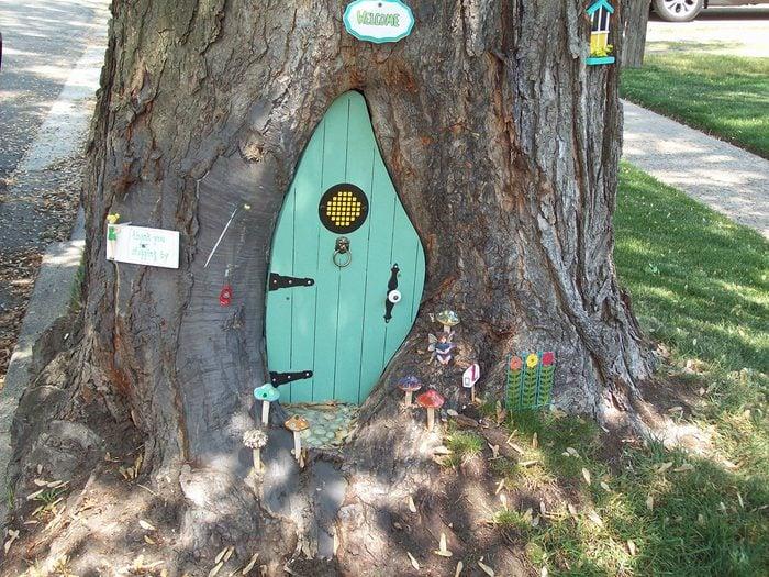 Doors Across Canada - Blue Door In Tree