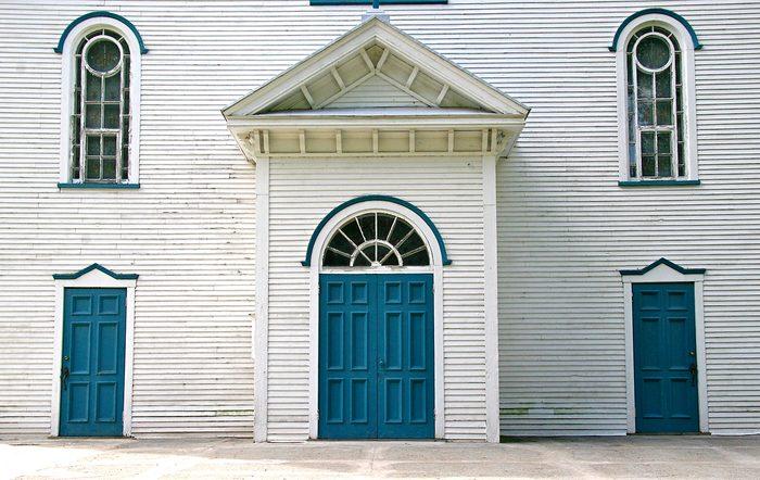 Doors Across Canada - White Church With Blue Doors