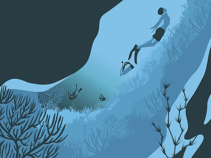 Illustration of scuba diver in underwater tunnel