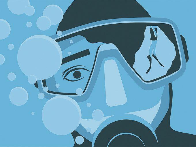 Illustration of scuba diver