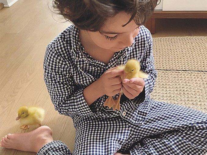 Leo with his ducklings on the day they arrived