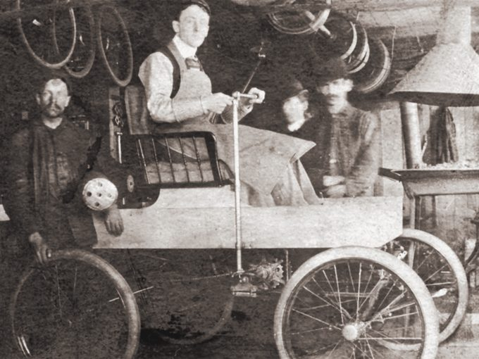 George Foote Foss in his Fossmobile