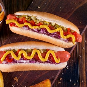 Hot dog buns - Hot Dog With Yellow Mustard, Onion, Pickles and French Fries