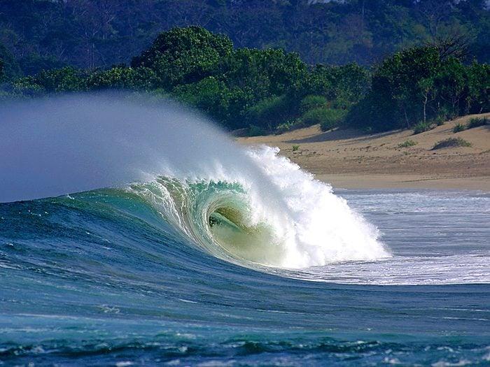 Ocean words - breaking wave on beach