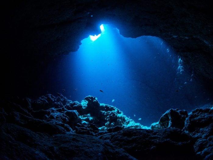 Ocean words - dark underwater cave
