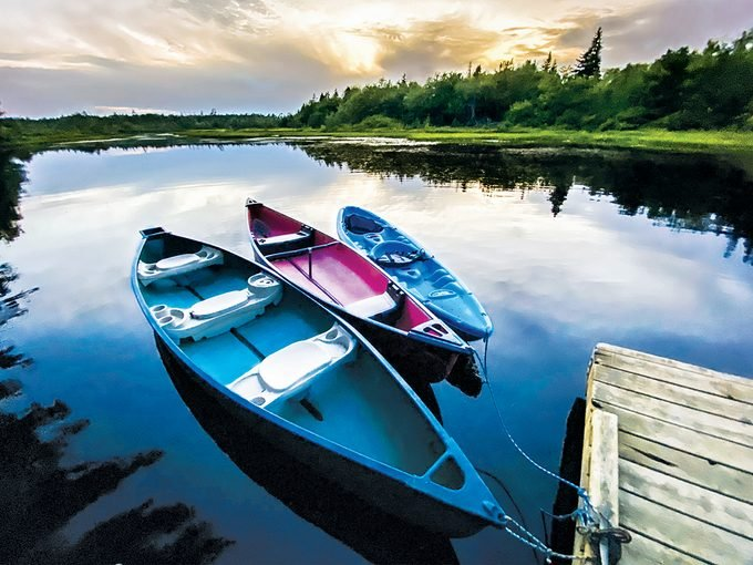 Canoes on the Sackville River - Atlantic Canada travel