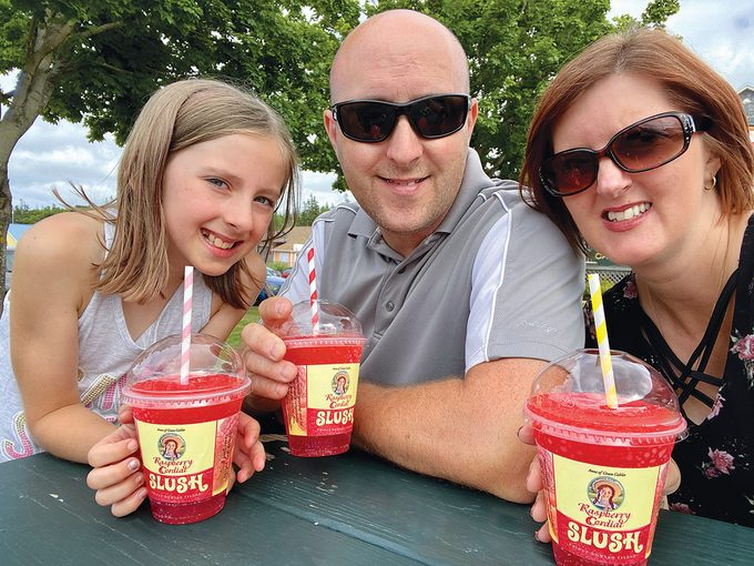 Family sipping Anne of Green Gables Raspberry Cordial Slush