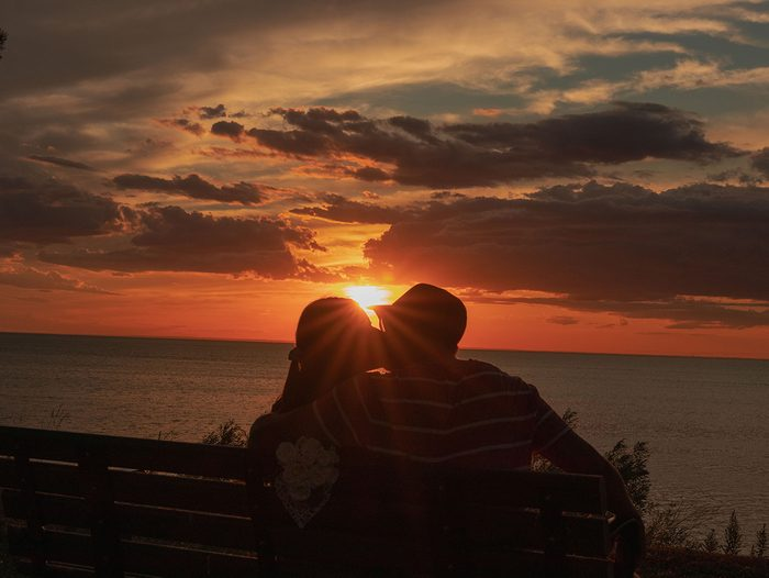 Sunset pictures - couple celebrating anniversary