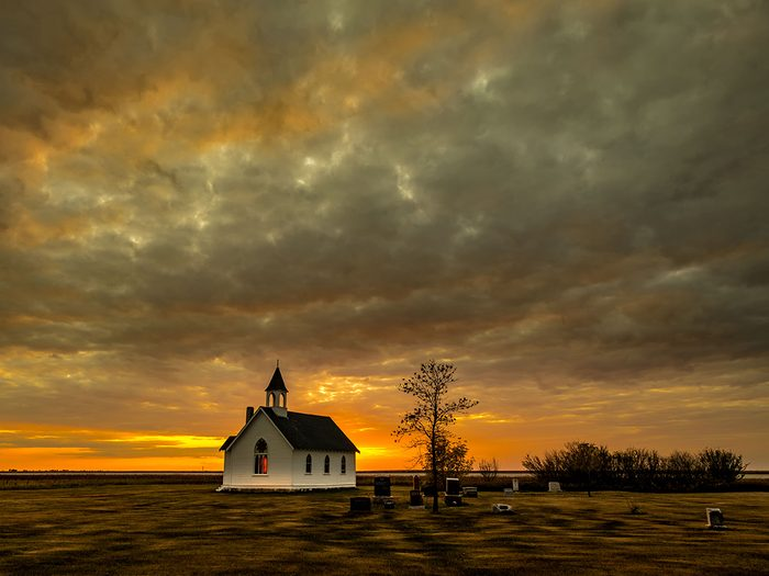 Sunset pictures - Manitoba church