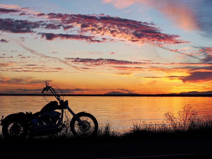 Sunset pictures - motorcycle silhouette