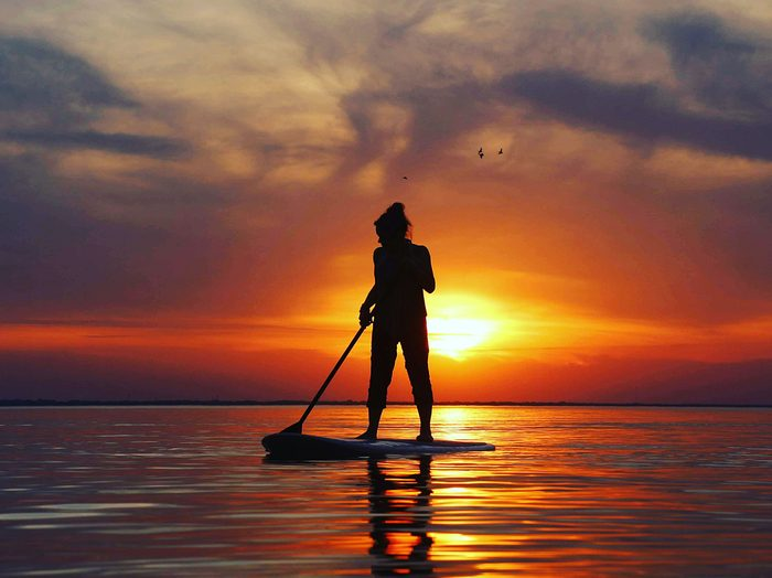 Sunset pictures - stand up paddleboarding silhouette