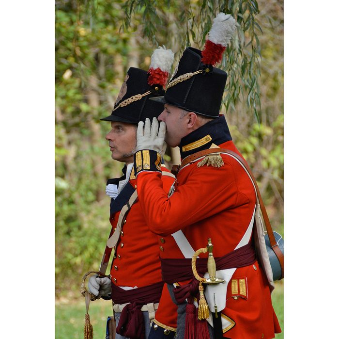 Candid photography - War of 1812 soldiers whispering
