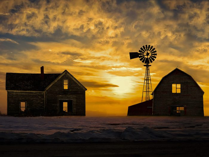 Sunset pictures - barn and farmhouse silhouette