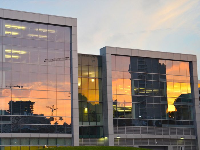 Sunset pictures - reflection in office buildings