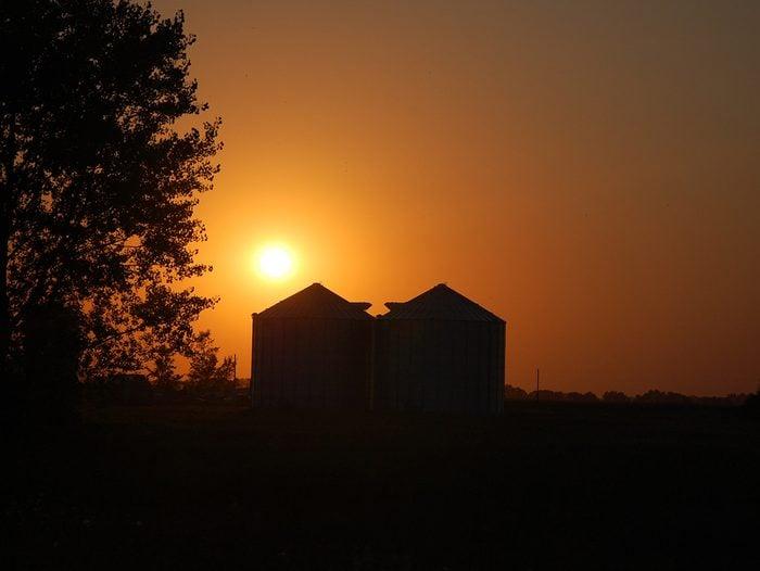 Prairie grain bins silhouette against sunset
