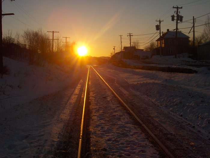 Sunset pictures - Train tracks leading off to sunset