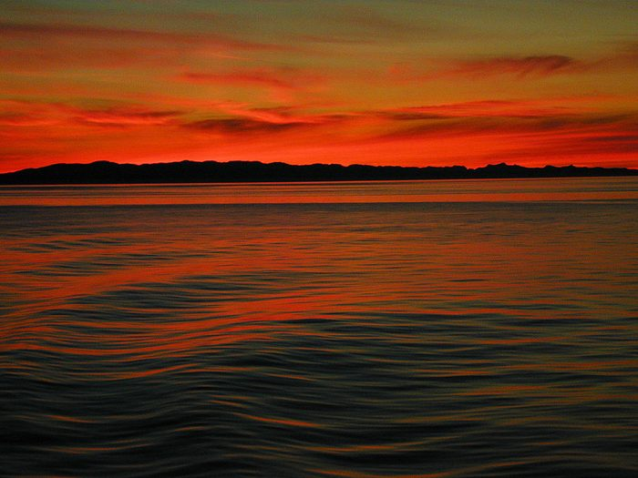 Sunset picture from the Vancouver ferry to Nanaimo
