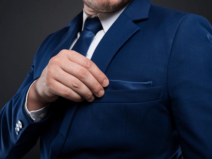 Suit Pockets Sewn Suit - Man wearing suit