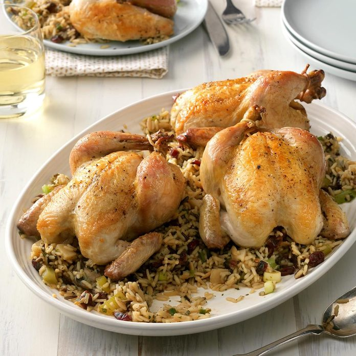 best fall recipes - Wild Rice With Celery Stuffed Cornish Hens