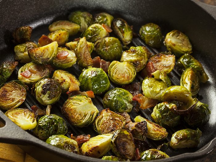 Best vegetables for weight loss - Homemade Grilled Brussel Sprouts with Fresh Bacon