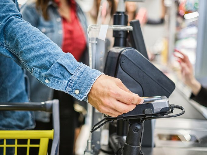 Paying for groceries with card
