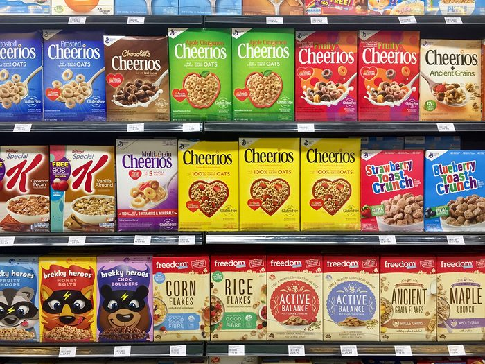 Shrinkflation - General Mills cereal boxes at grocery store