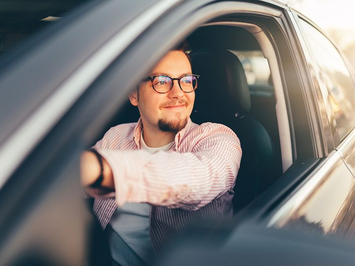 Weird brain exercises - man driving with window down