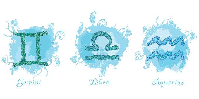 Zodiac air signs - Gemini Libra and Aquarius