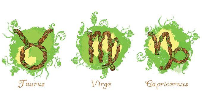 Zodiac earth signs - Taurus Virgo Capricorn