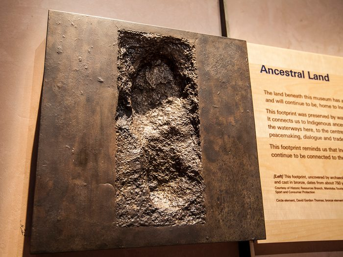 Canadian museums artefacts - 800 Year Old Footprint Canadian Museum Of Human Rights
