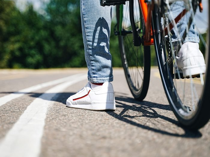 How to buy a bike - close up of cyclist's feet