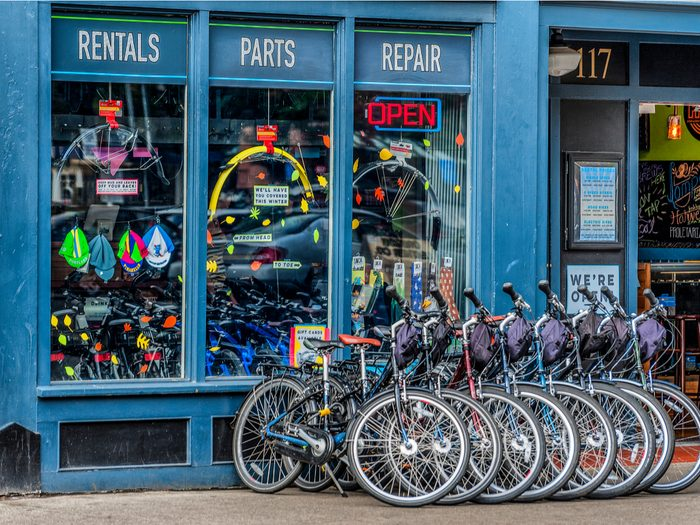 How to buy a bike - bicycles lined up outside shop